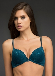 Lightly padded teal lace cups with underwire Plunging neckline gives hint of lift; back triple-gate strap Wear twinned straps classic or crossback Nylon/spandex Imported #10250729