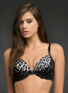Leopard print cups and plunging neckline with black lace trim and band Our most amped-up lift adds 2 sizes, creates cleavage Adjustable straps Nylon/spandex Imported #10250824