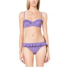 Eyelet embroidery and refined ruffles define this darling two-piece bikini. The underwire top offers extra shape and support while adjustable straps ensure a secure fit. Just add raffia extras like a tote and floppy hat and hit the sand. Size: 8. Color: Wisteria.