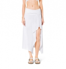 An easy breezy cover-up in a stretch nylon blend this soft skirt showcases draping and a flirty front split. Style it with a floral-print bikini on your next beachside getaway. Size: M. Color: White.