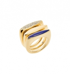 Three is always better than one. These ultra-chic stacking rings have varying tones for easy versatility. From gleaming gold-tone to gold and lapis-tone this stylish trifecta makes a serious statement. Size: 8. Color: Gold.