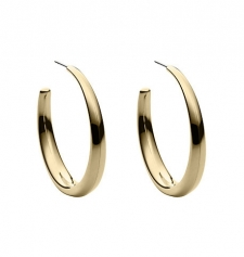 Nothing conjures head-turning glamour quite like a pair of hoop earrings. We reimagined the perennial design in this bolder chunkier silhouette with a lustrous gilded finish. This pretty pair will feel just as at home with sophisticated sportswear as it will with your weekend-ready boyfriend jeans and tee. Size: ONE SIZE. Color: Gold.
